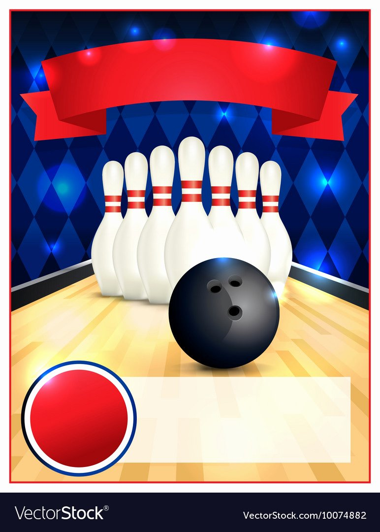 Bowling Flyer Template Free Awesome Bowling Alley Blank Template Flyer Royalty Free Vector Image