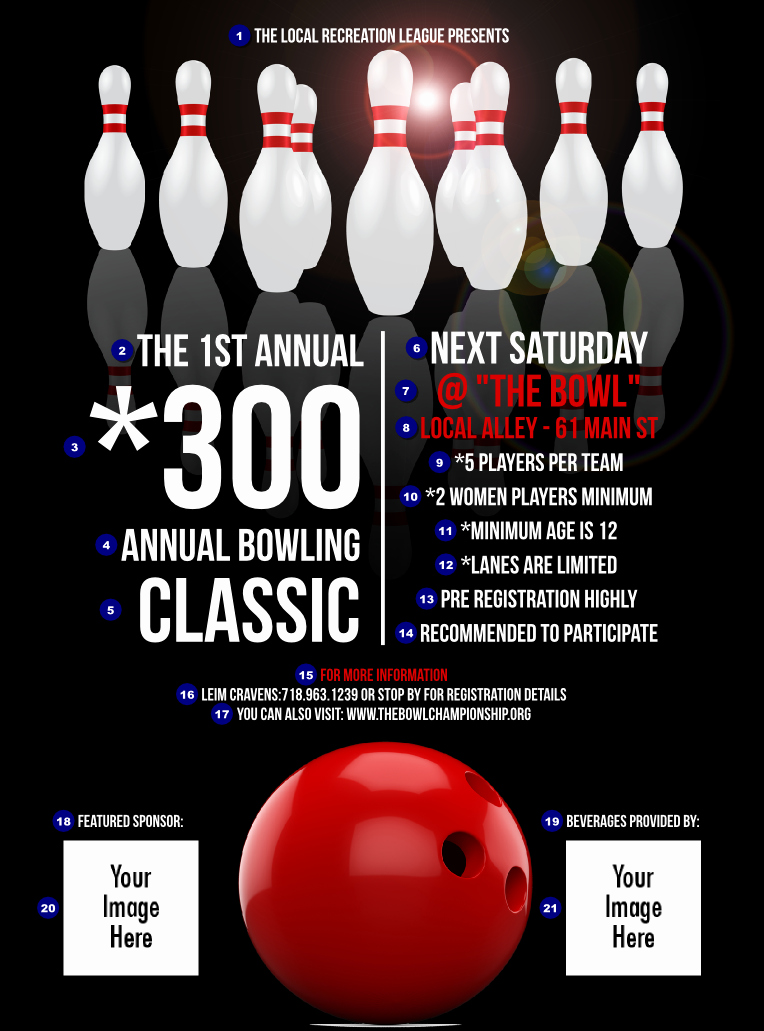 Bowling Flyer Template Free Beautiful Bowling Classic Flyer
