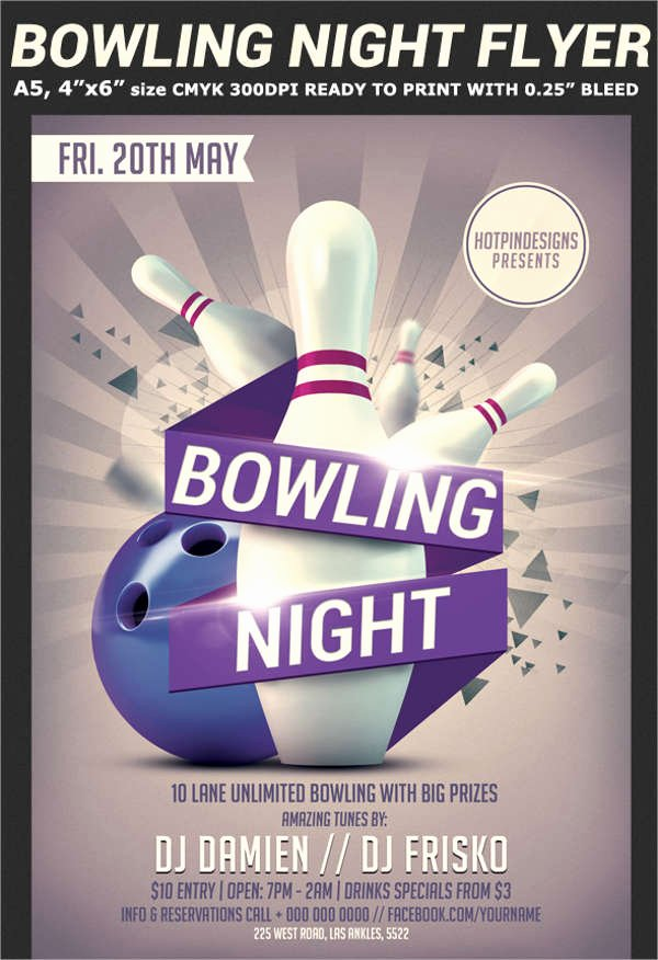 Bowling Flyer Template Free Inspirational 60 Sample Party Flyers Psd
