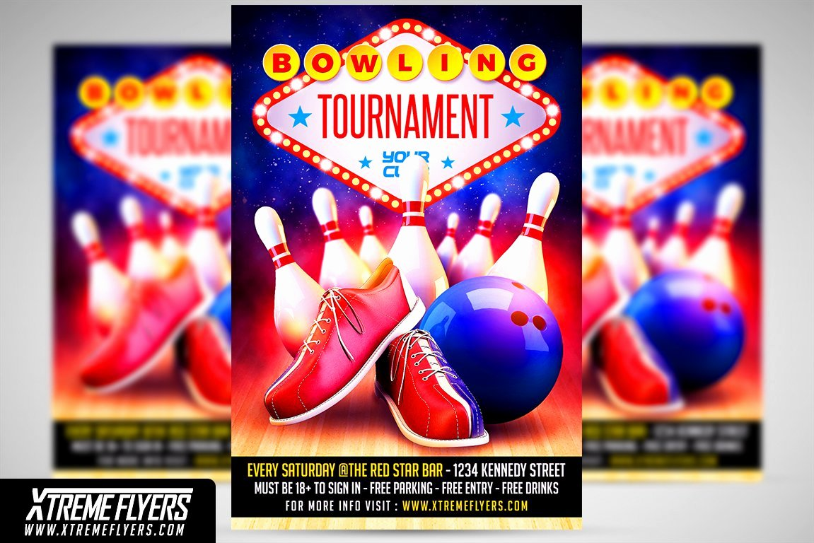 Bowling Flyer Template Free Lovely Bowling Flyer Template Flyer Templates Creative Market
