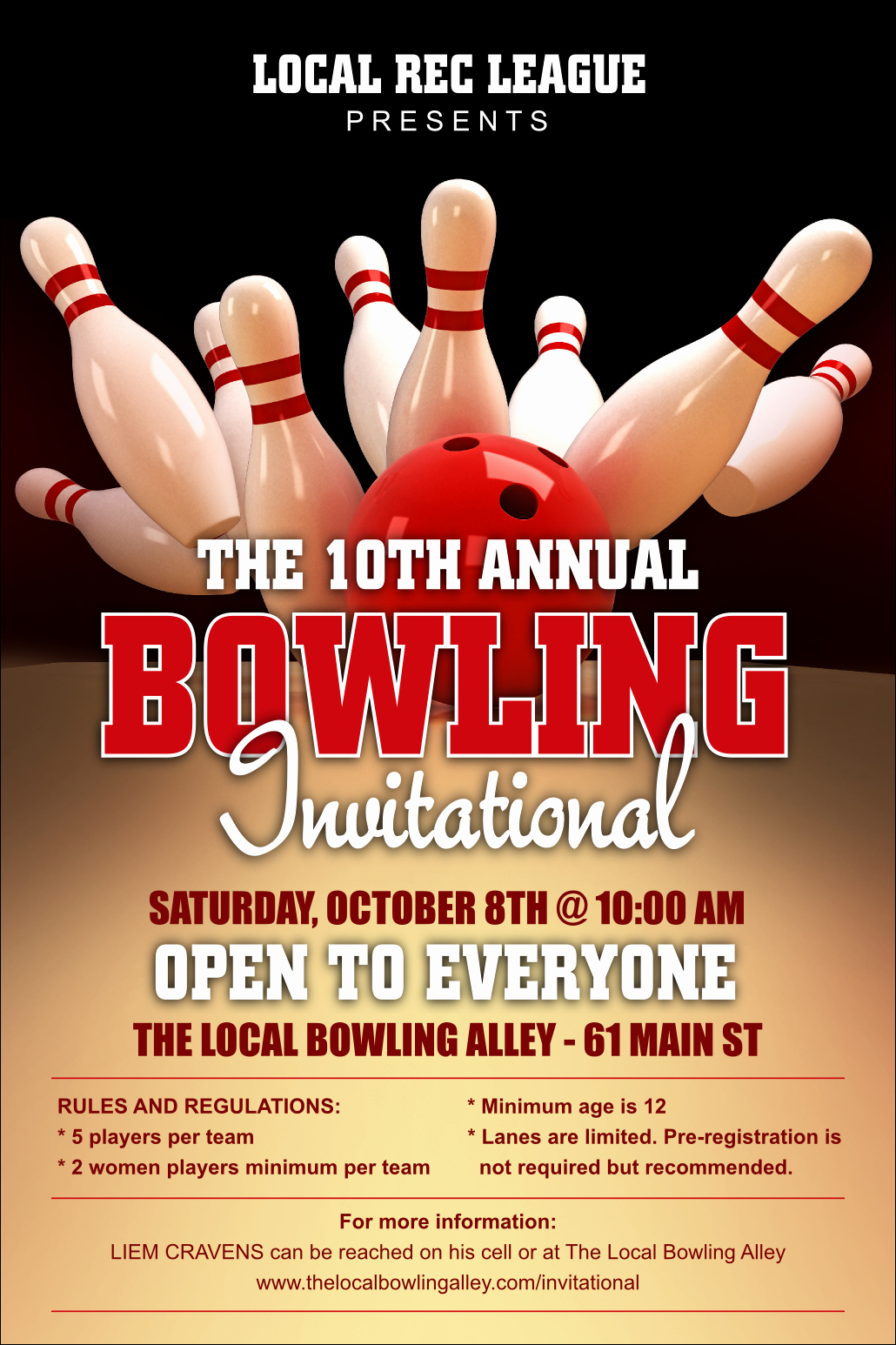 Bowling Flyer Template Free Lovely Bowling League Poster