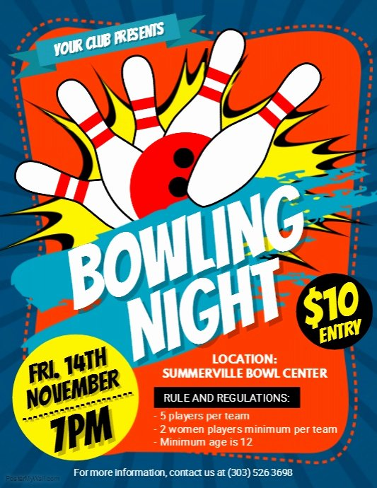 Bowling Flyer Template Free Lovely Bowling Night Flyer Template