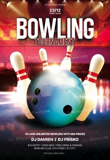 Bowling Flyer Template Free Lovely Bowling Psd Flyer Template Styleflyers