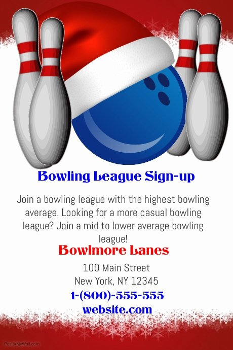 Bowling Flyer Template Free Lovely Christmas Bowling League Template