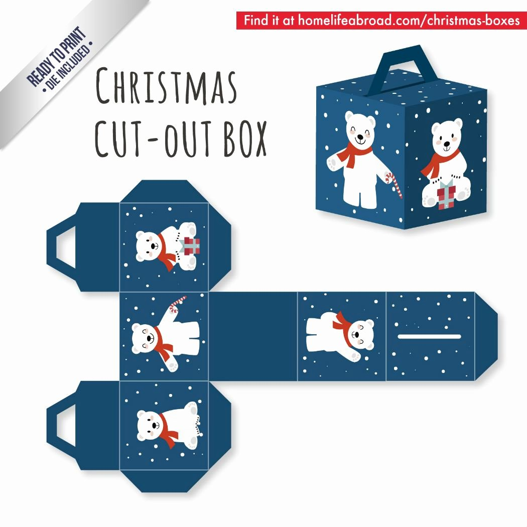 Box Cut Outs Elegant Blue Polar Bear Christmas Cut Out Box with Ready to