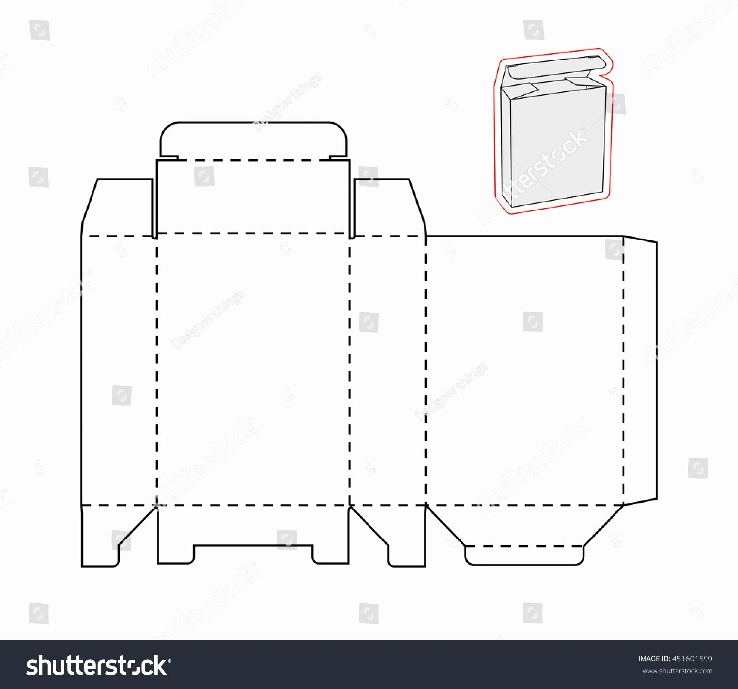 Box Cut Outs Elegant Template Simple Box Cut Out Paper Stock Vector