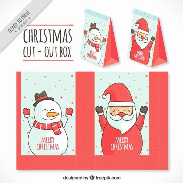 Box Cut Outs Fresh Santa Claus and Snowman Cut Out Box Vector