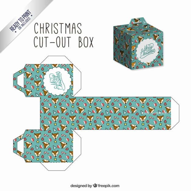 Box Cut Outs Lovely Christmas Cut Out Box with Lovely Foxes Vector