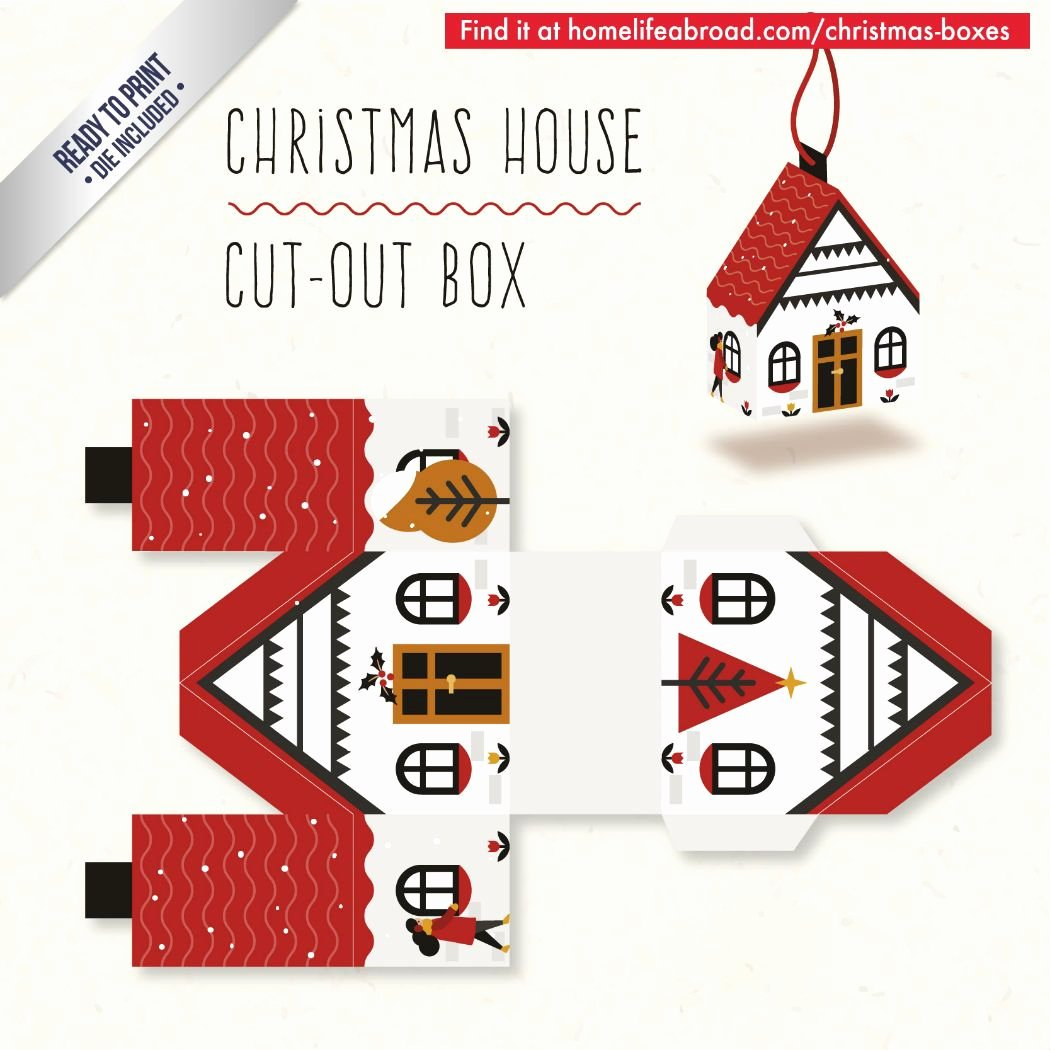 Box Cut Outs Luxury Christmas House Cut Out Box with Ready to Print