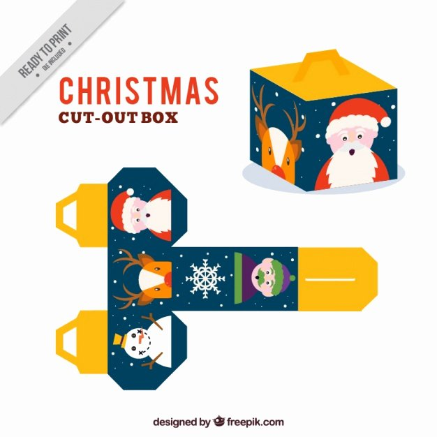 Box Cut Outs New Christmas Cut Out Box Vector