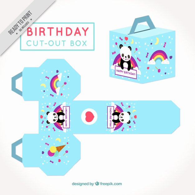Box Cut Outs New Cute Cut Out Box for Birthday Vector