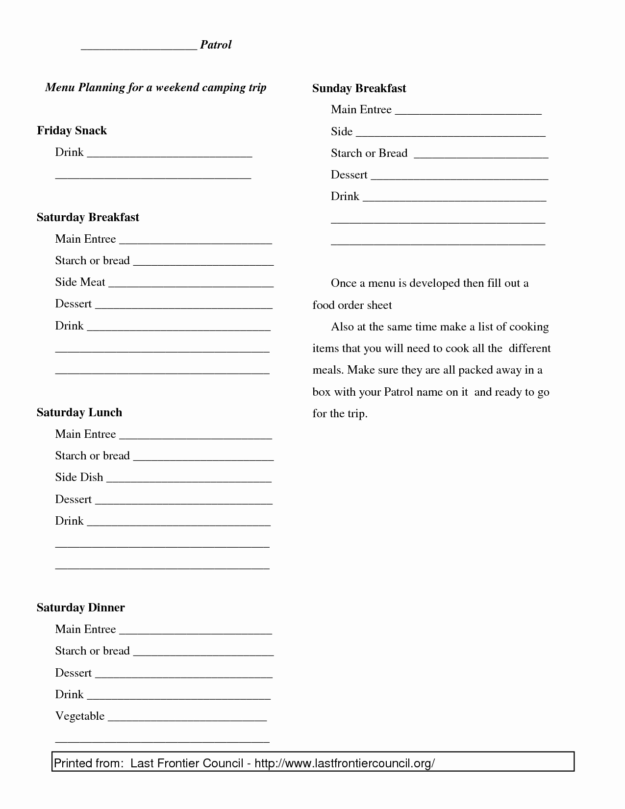 Boy Scout Duty Roster Template Best Of 13 Best Of Boy Scout Day 5 Meal Planning Worksheet