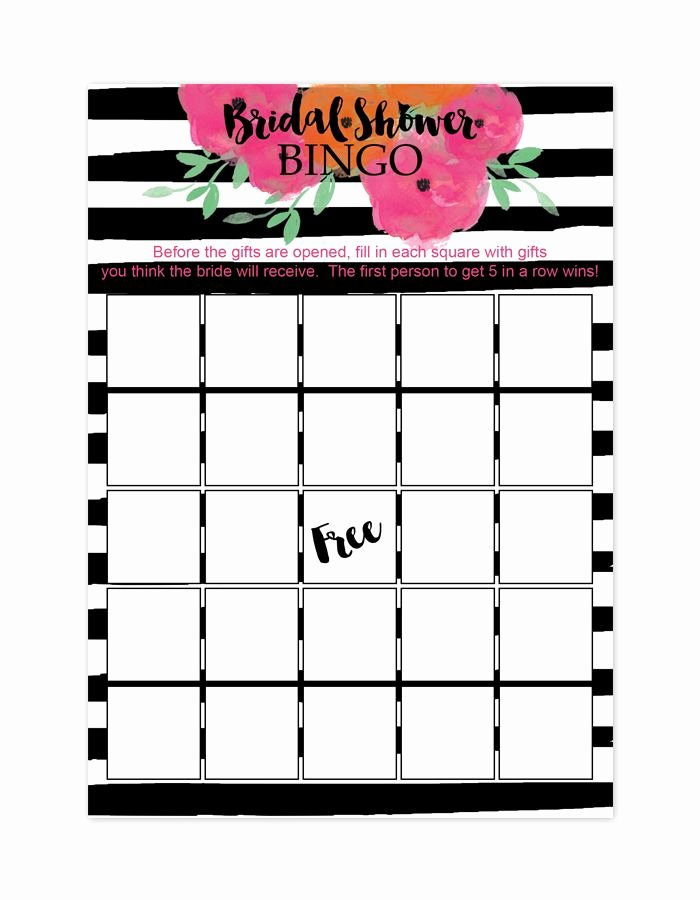 Bridal Bingo Template Best Of Floral Striped Bridal Shower Bingo