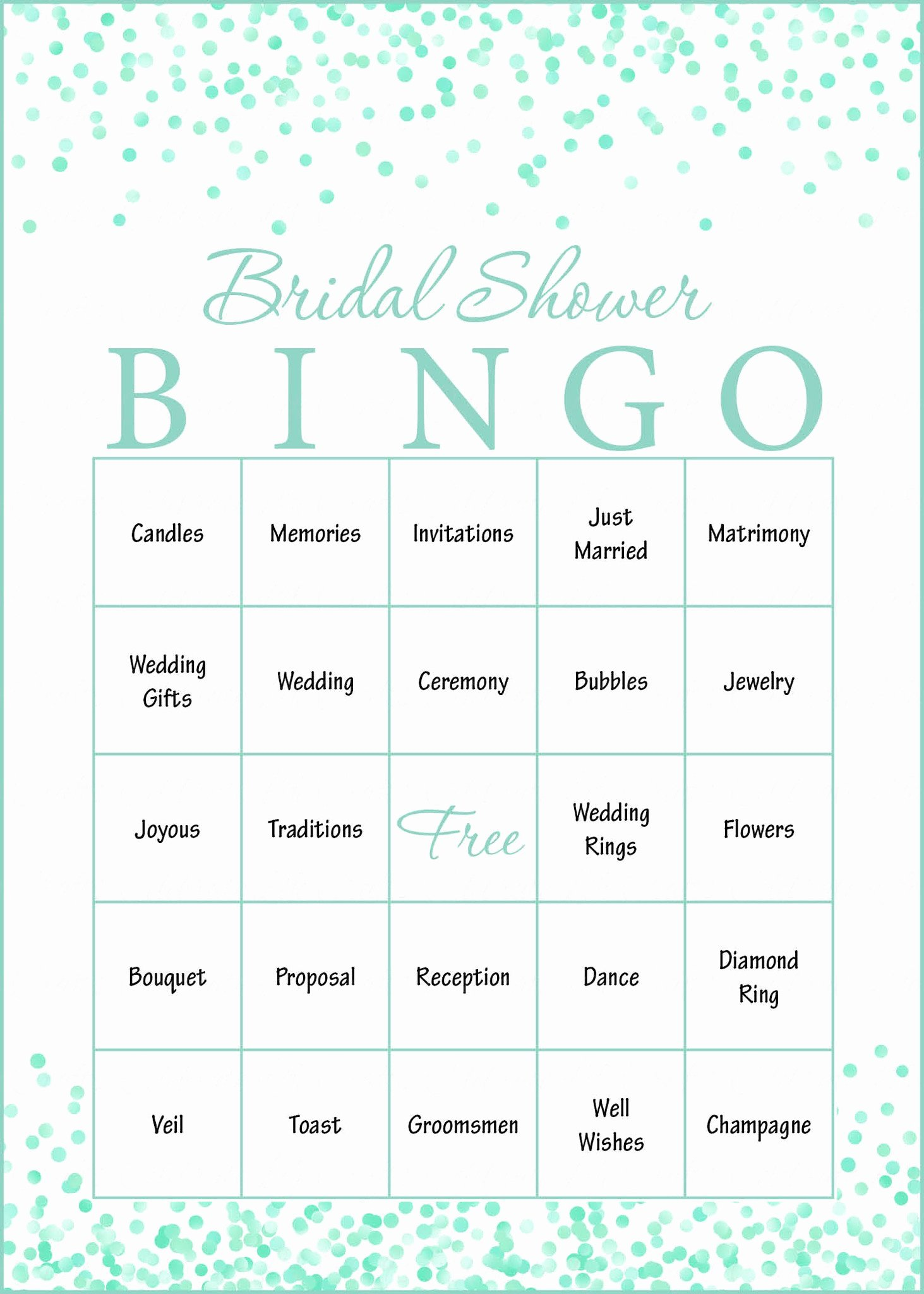 Bridal Bingo Template Fresh Mint Confetti Bridal Shower Game Download for Wedding