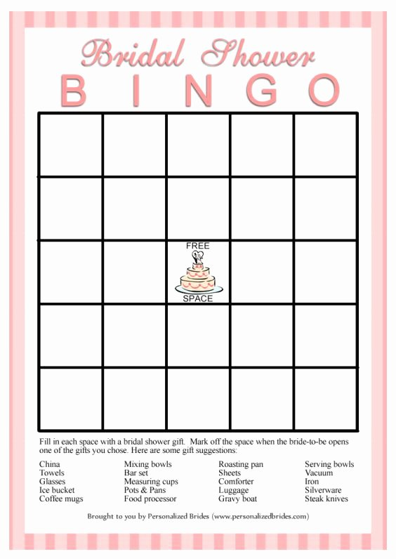 Bridal Bingo Template New 11 Free Printable Bridal Showers Bingo Cards