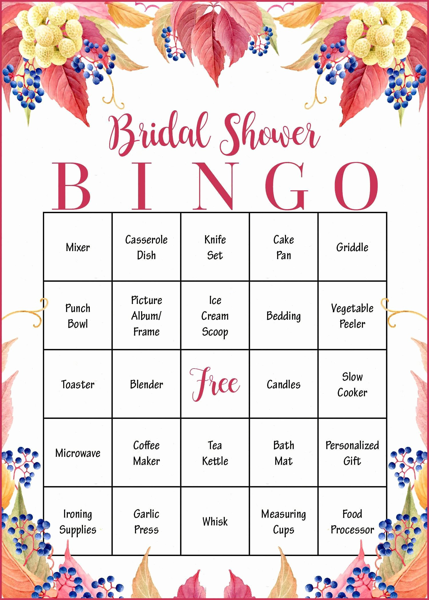 Bridal Bingo Template New Falling In Love Fall Bridal Shower Game Download
