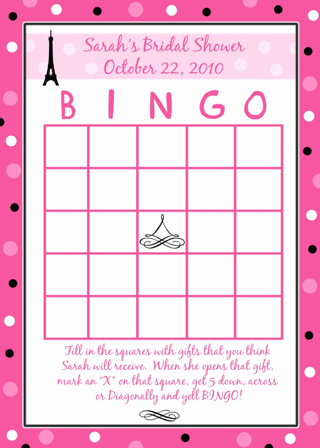 Bridal Bingo Template Unique 24 Personalized Bridal Shower Bingo Cards Paris Style