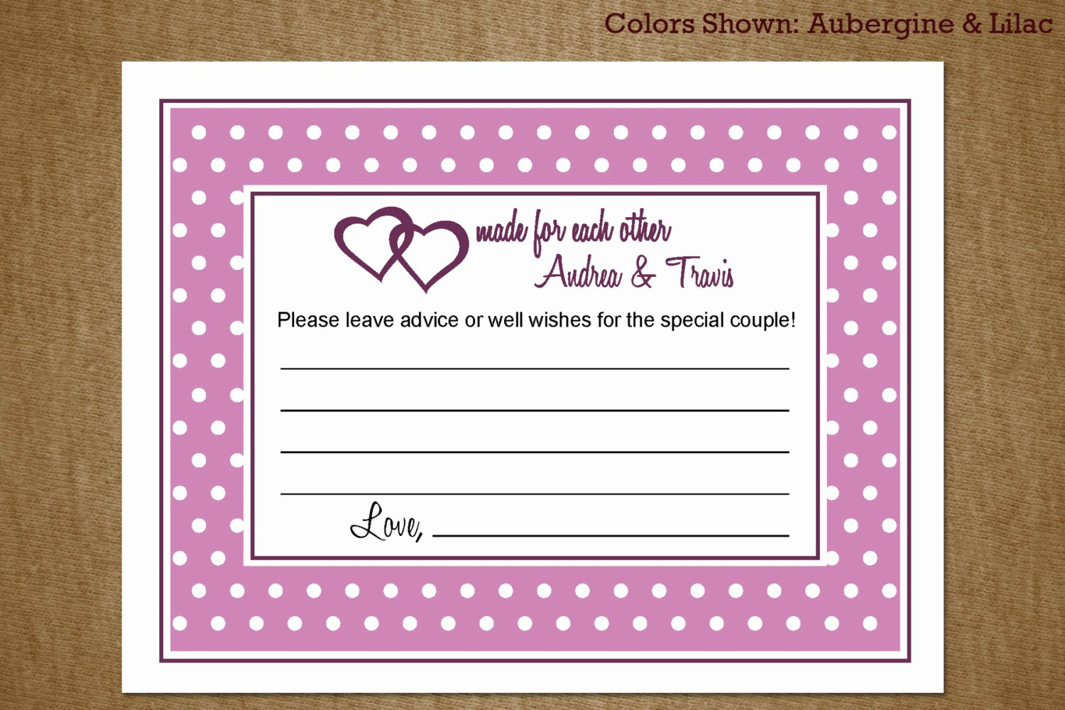 Bridal Shower Advice Cards Awesome Bridal Shower Advice Card and Well Wishes by
