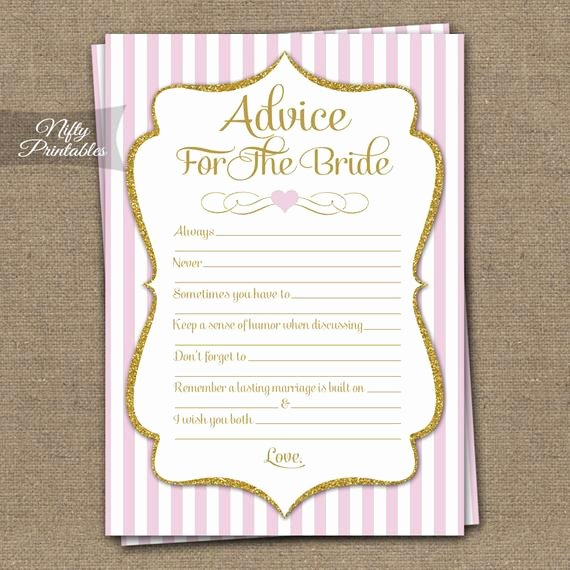 Bridal Shower Advice Cards Beautiful Bridal Shower Advice Cards Pink & Gold Bridal Shower Games