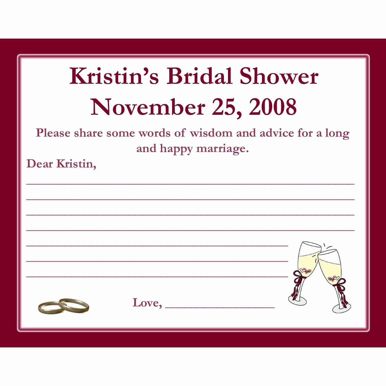Bridal Shower Advice Cards Best Of 24 Bridal Shower Advice Cards Champagne Glasses