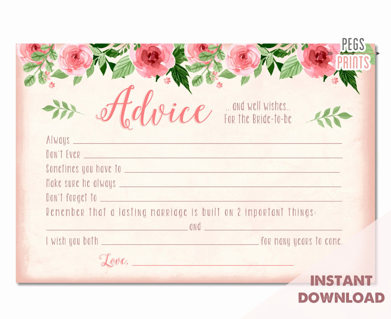 Bridal Shower Advice Cards Elegant Bridal Advice Cards Instant Download Advice for the