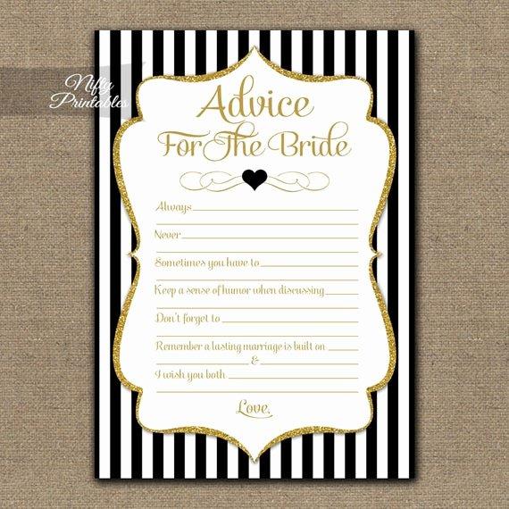 Bridal Shower Advice Cards Elegant Bridal Shower Advice Cards Black & Gold Bridal Shower Games