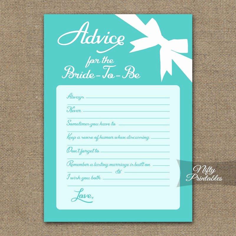 Bridal Shower Advice Cards Elegant Printable Bridal Shower Advice Cards Tiffany Blue