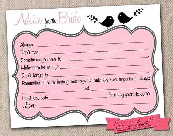 Bridal Shower Advice Cards Elegant Printable Bridal Shower Mad Libs Lovebird by eventprintables