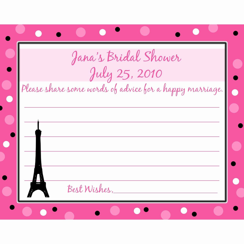 Bridal Shower Advice Cards Fresh 24 Bridal Shower Advice Cards Paris Romance by Partyplace