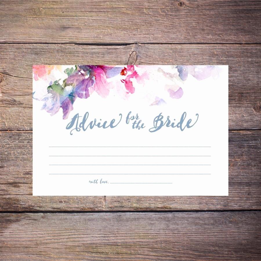 Bridal Shower Advice Cards Fresh Flower Watercolor Bridal Shower Advice Cards Printable