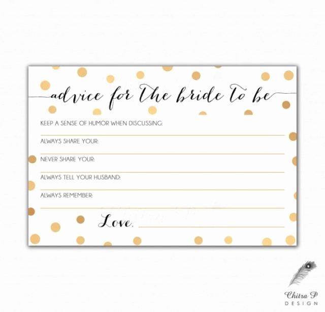 Bridal Shower Advice Cards Inspirational Gold & Black Bridal Advice Card Printed Printable