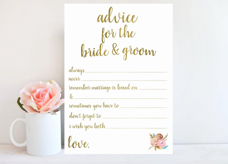 Bridal Shower Advice Cards Inspirational Wedding Advice Card Bridal Shower Games Printable Instant