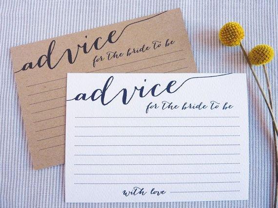 Bridal Shower Advice Cards Lovely Advice Cards Bridal Shower Advice for the Bride to Be