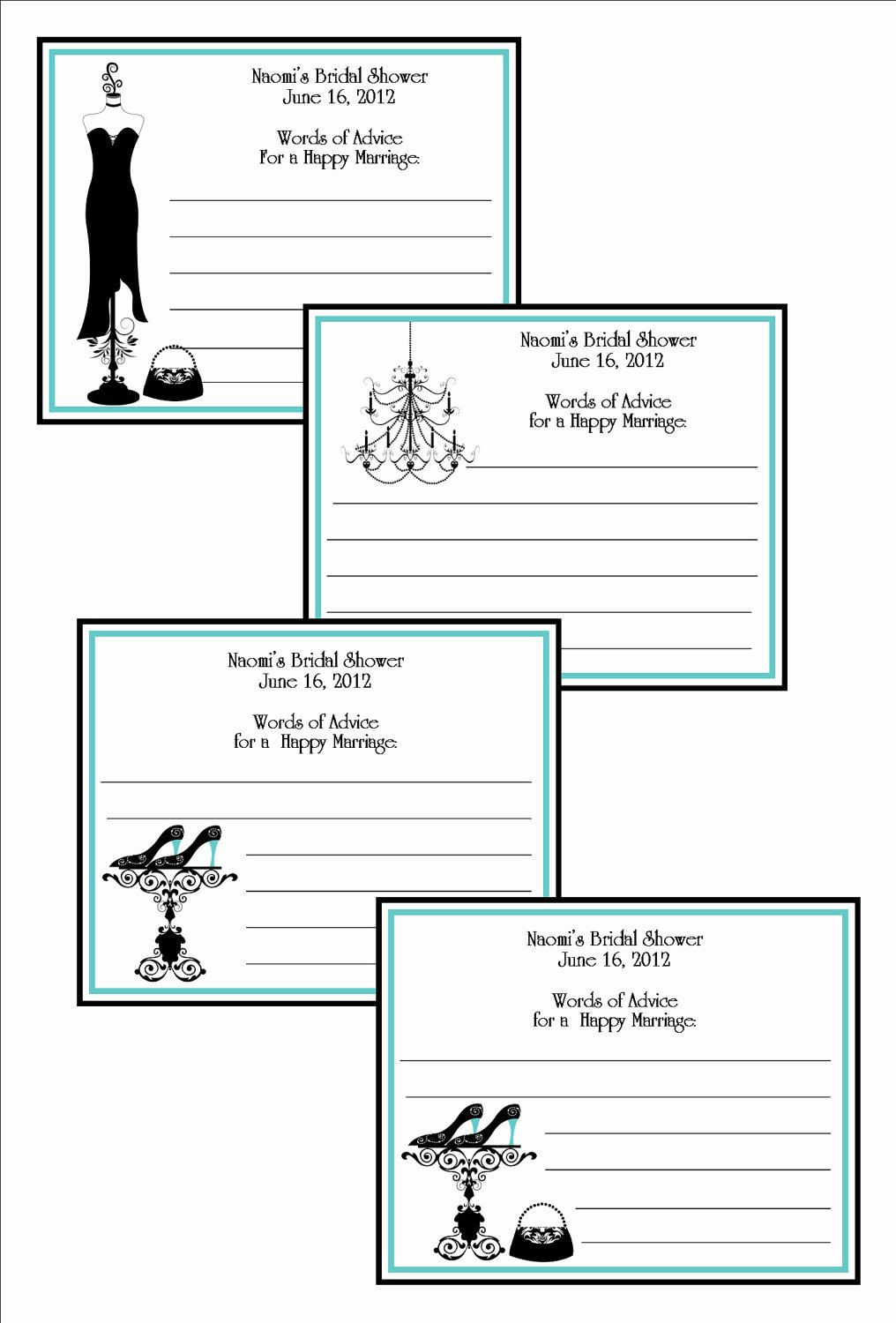 Bridal Shower Advice Cards Lovely Personalized Bridal Shower Advice Cards Damask Style Blue