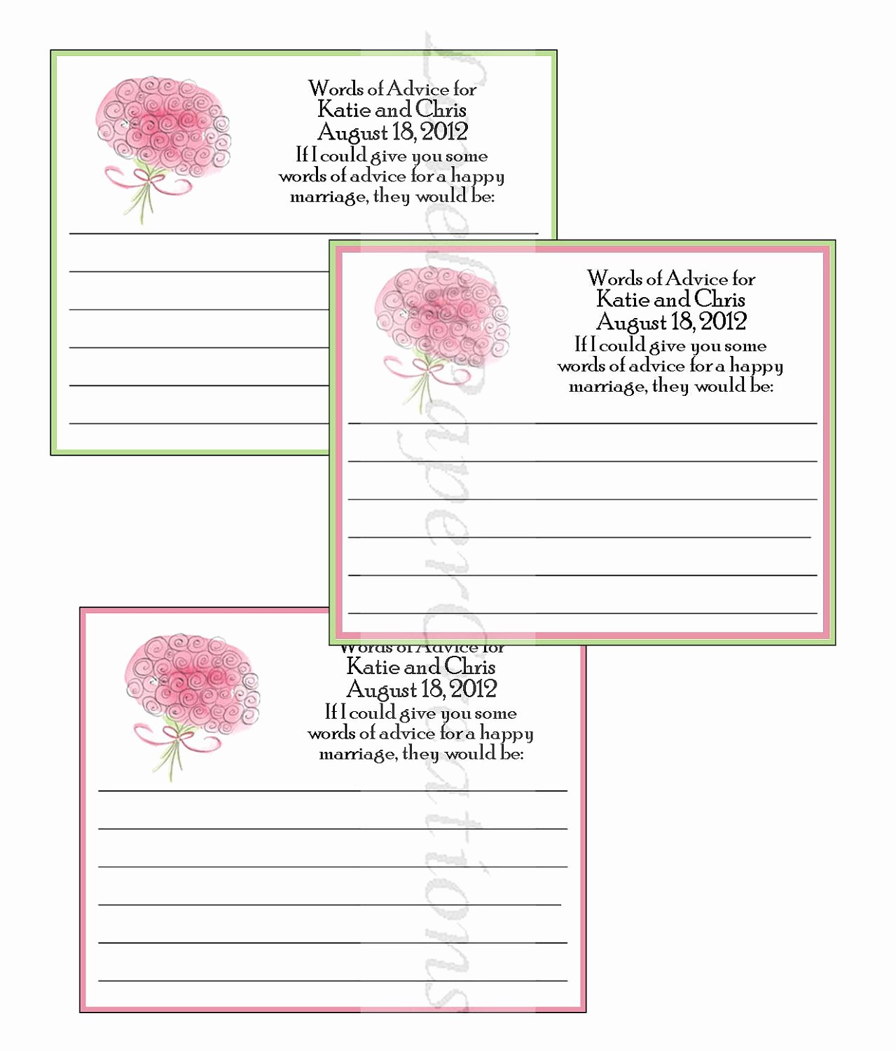 Bridal Shower Advice Cards Luxury Personalized Bridal Shower Advice Cards
