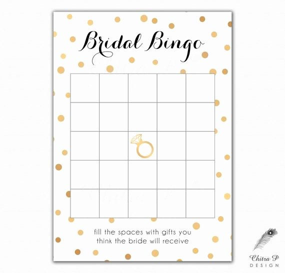 Bridal Shower Bingo Template Awesome Black & Gold Bridal Shower Bingo Cards Printed or Printable