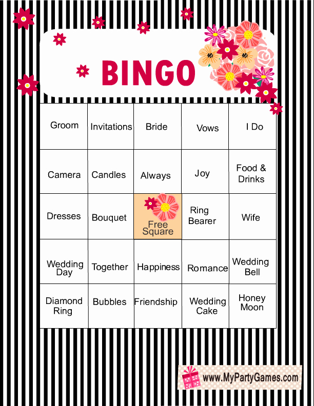 Bridal Shower Bingo Template Awesome Free Printable Bridal Shower Bingo Game Cards
