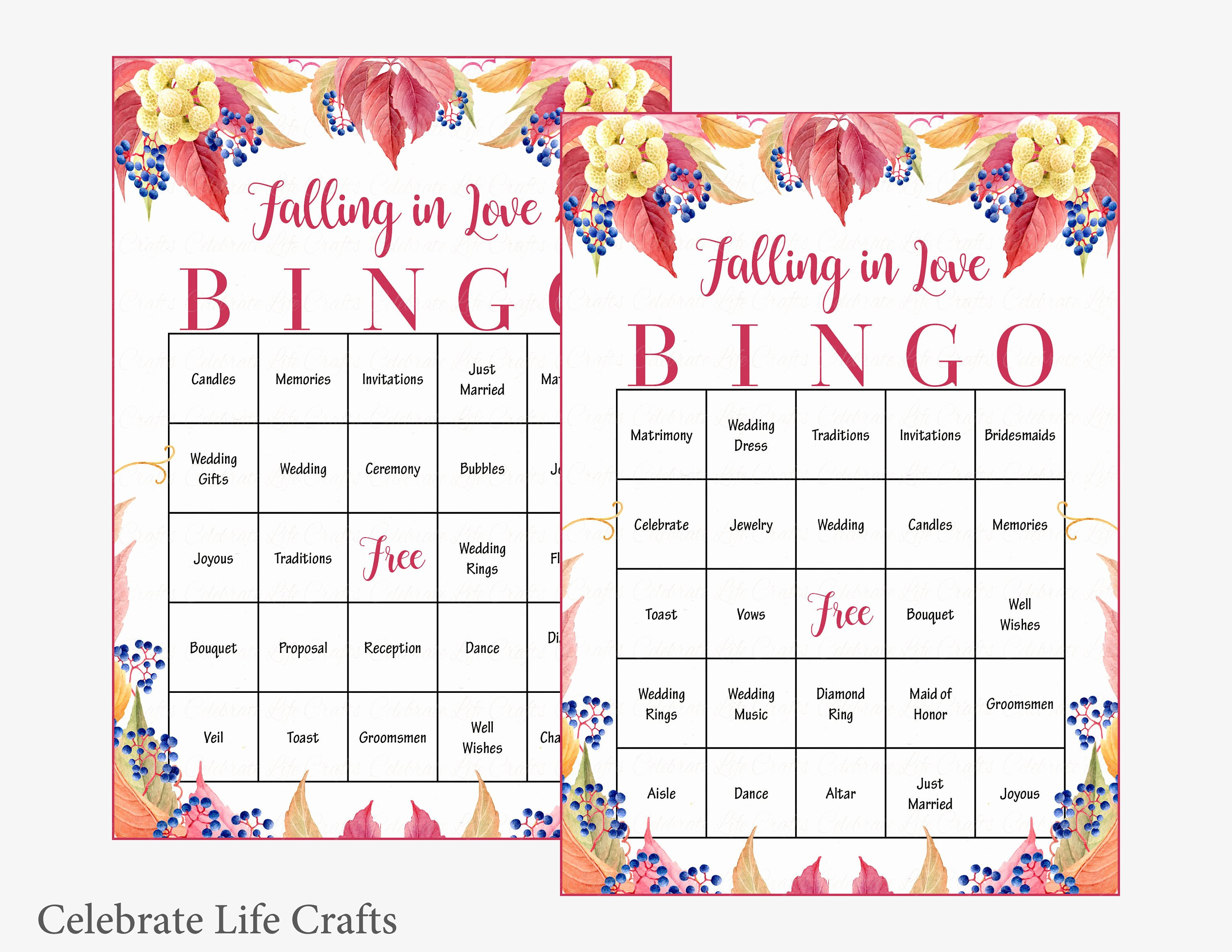 Bridal Shower Bingo Template Best Of 100 Falling In Love Wedding Bingo Cards Fall Bridal Shower