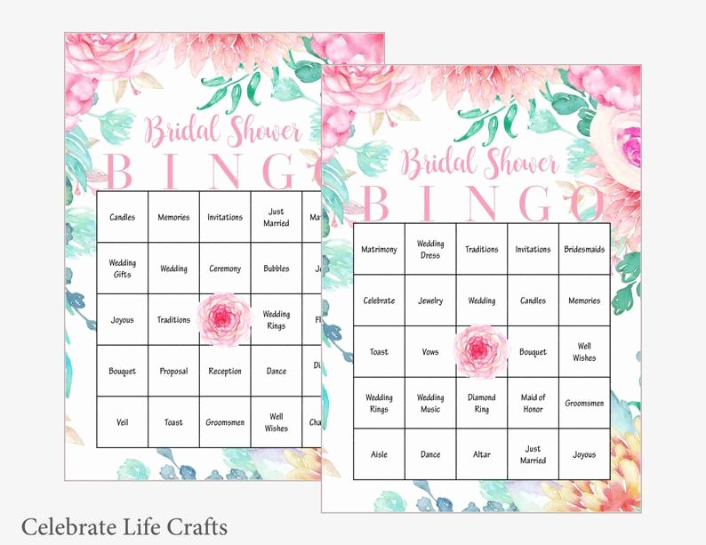 Bridal Shower Bingo Template Elegant 100 Bridal Bingo Cards Floral Bridal Shower Bingo Game