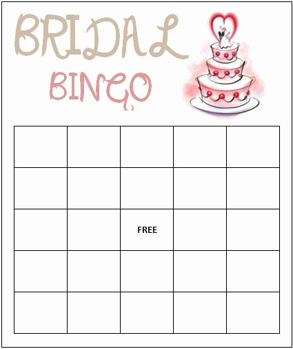 Bridal Shower Bingo Template Free Awesome Bridal Bingo Template