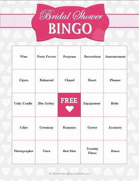 Bridal Shower Bingo Template Free Awesome Free Bridal Shower Bingo Game
