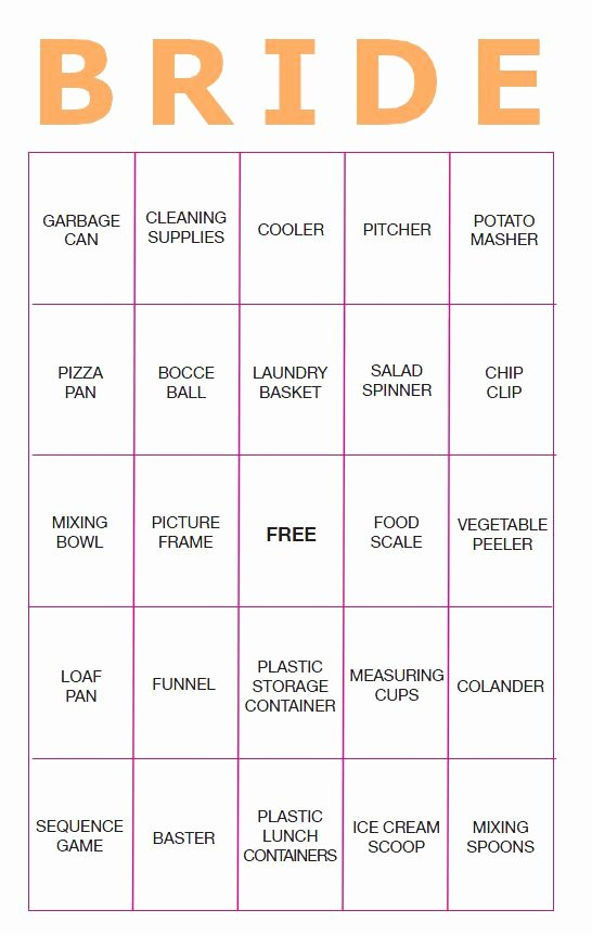 Bridal Shower Bingo Template Free Elegant 11 Free Printable Bridal Showers Bingo Cards
