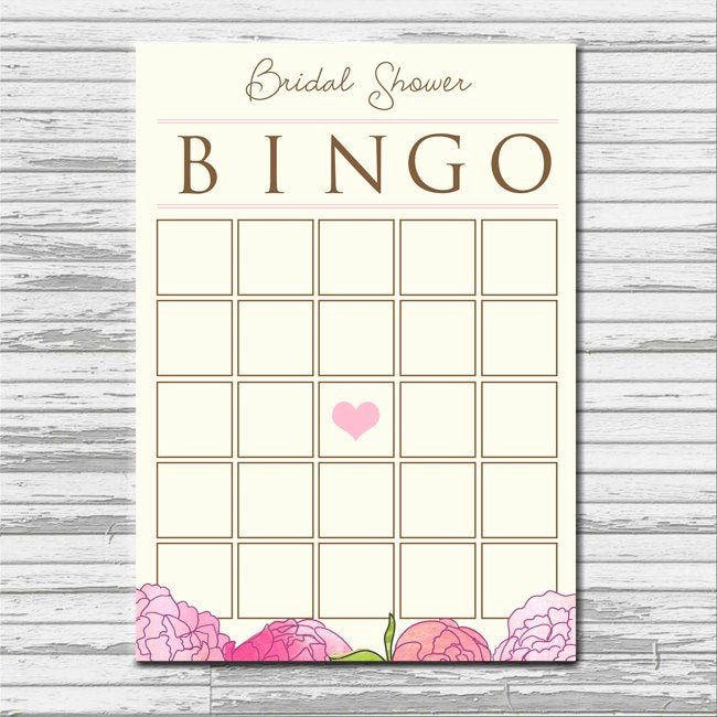 Bridal Shower Bingo Template Free Elegant Bridal Shower Bingo Card Instant Printable Blank