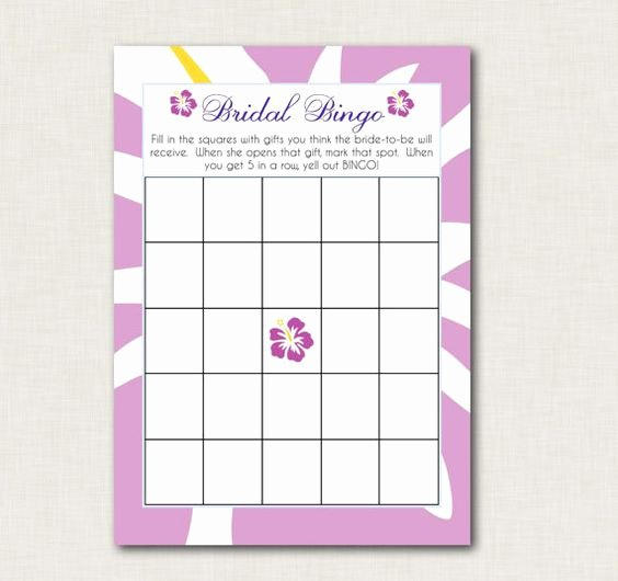 Bridal Shower Bingo Template Free Elegant Hawaiian Bridal Showers Bridal Shower Bingo and Bingo On