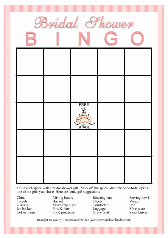 Bridal Shower Bingo Template Free Fresh Bridal Bingo Template