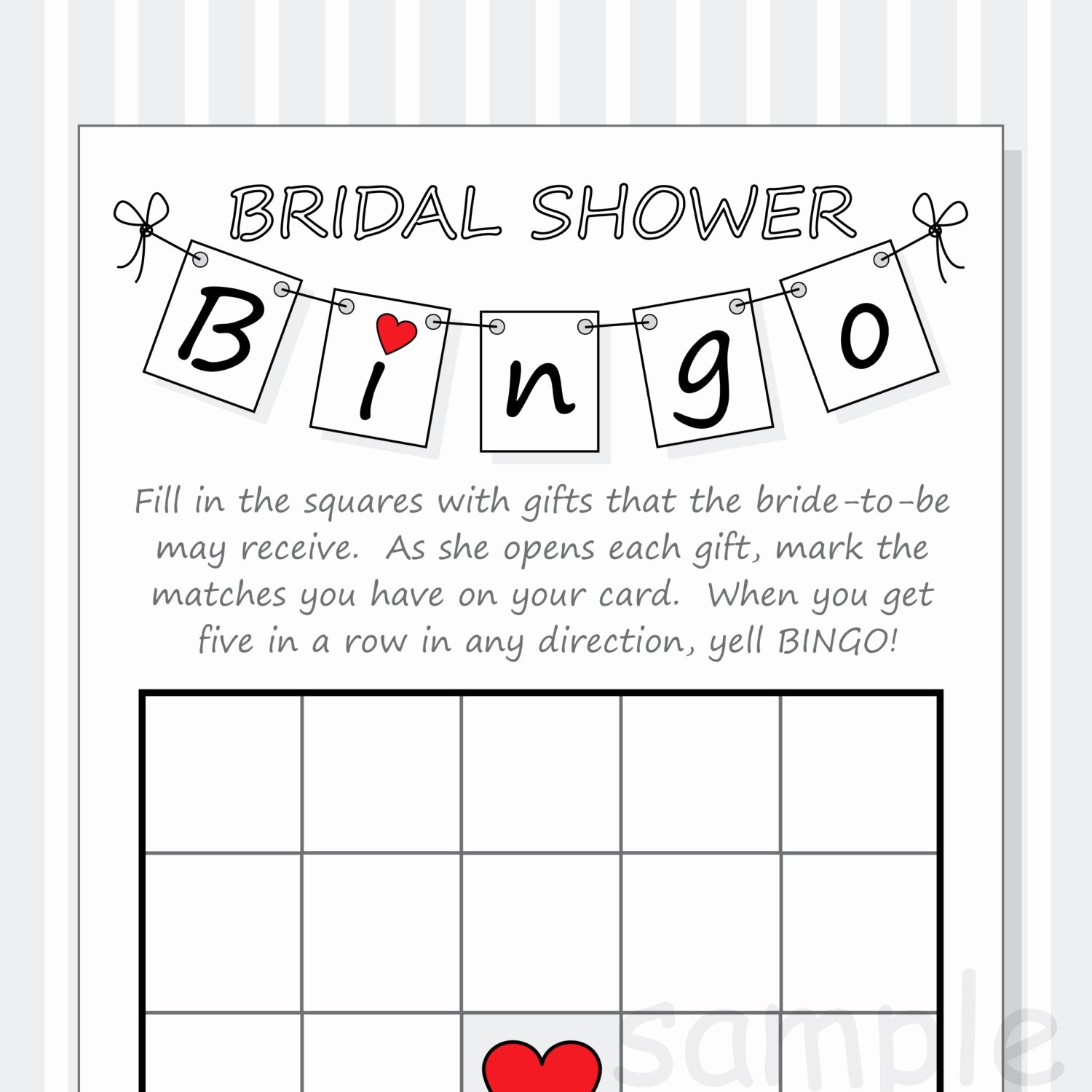 Bridal Shower Bingo Template Free Lovely Diy Bridal Shower Bingo Printable Cards Pennant Design Red