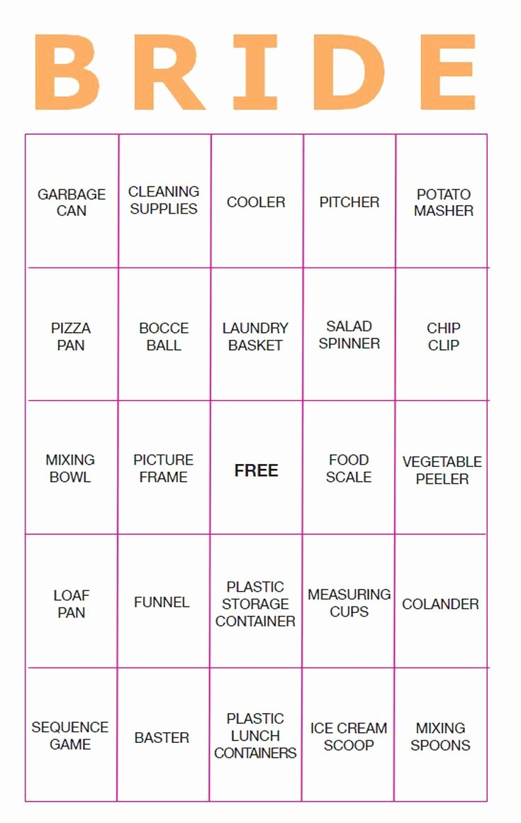 Bridal Shower Bingo Template Free Luxury Best 25 Bridal Bingo Ideas On Pinterest