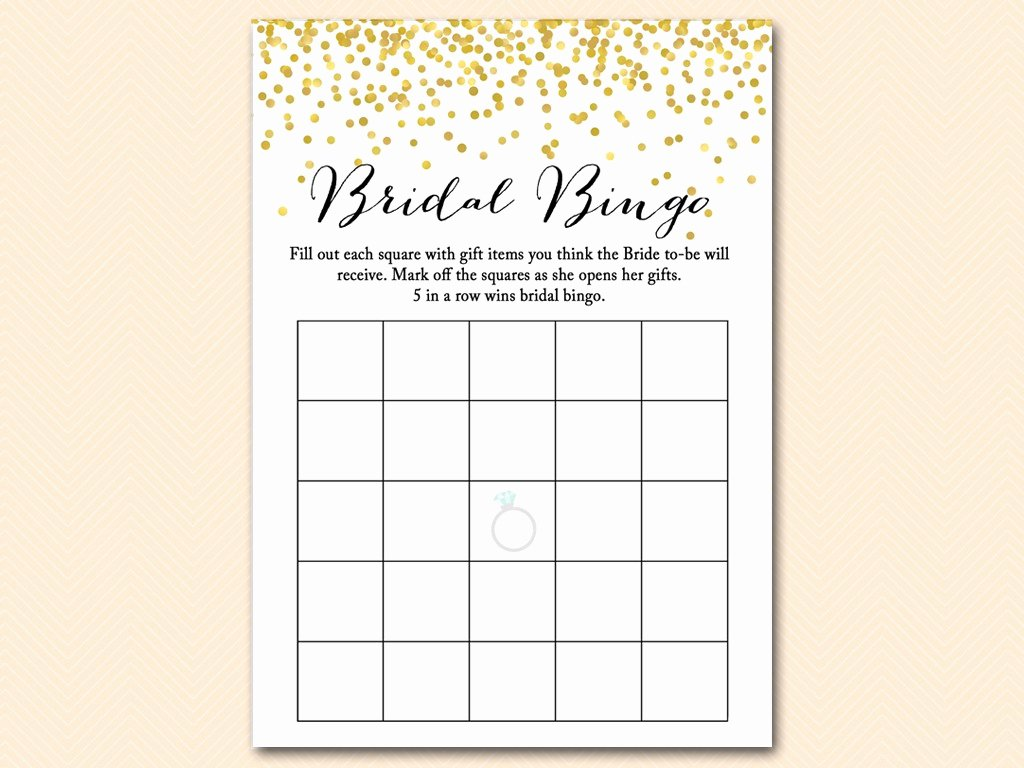 Bridal Shower Bingo Template Free Luxury Gold Confetti Bridal Shower Game Mega Pack Magical Printable