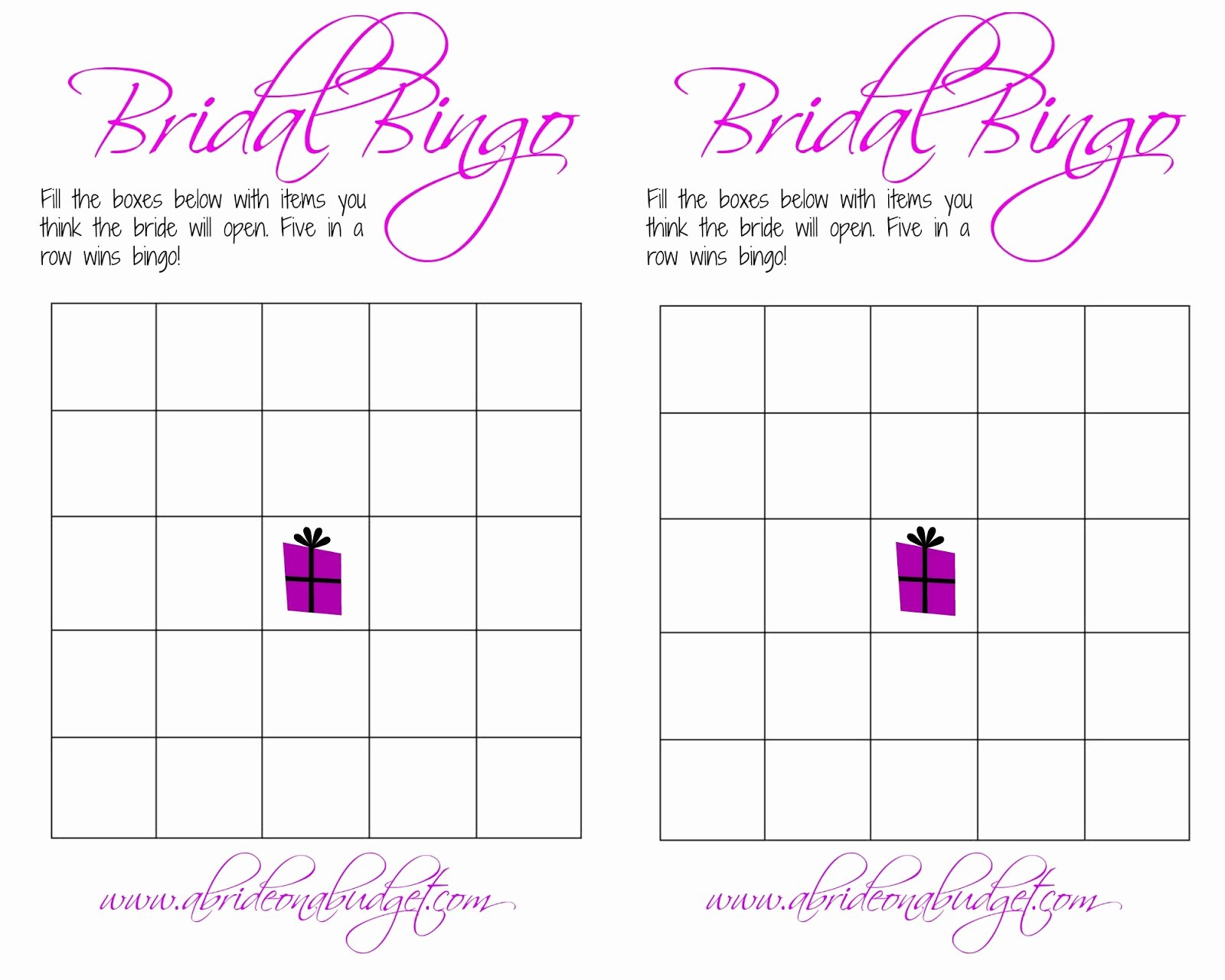 Bridal Shower Bingo Template Free New Bridal Bingo and A Free Printable