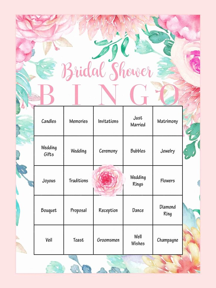 Bridal Shower Bingo Template Fresh 25 Cute Bridal Shower Bingo Ideas On Pinterest